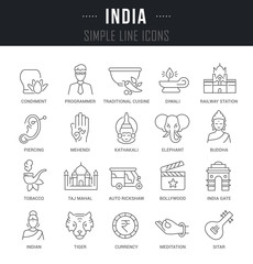 Set Vector Line Icons of India.