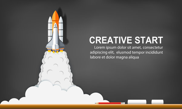 space shuttle launch to the sky on background blackboard. start up business concept ,financial idea are competing for success and corporate goal. creative. vector illustration paper art