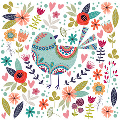 Art vector colorful illustration with beautiful abstract folk bird and flower