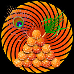 Pongal Hindu harvest festival in India and Sri Lanka. The concept of the event. Tiligul - sweetness from sesame. Peacock feather Sugar cane. Symbolic sun