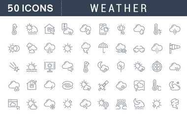 Set Vector Line Icons of Weather.