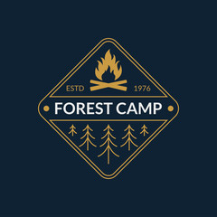 Camp badge. Forest camping emblem with fire and trees. Vector illustration.