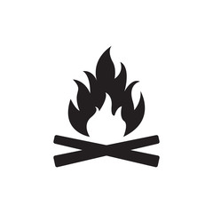 Campfire icon. Bonfire or fire logo. Vector illustration.