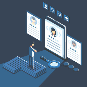 Social presentation for employment. Infographic for recruiting. Web recruit resources, choice, research or fill form for selection. Application for employee hiring. flat isometric vector illustration