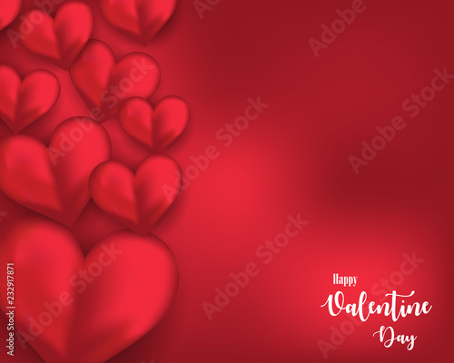 Valentine Day Greeting Card Template Design With Red Heart