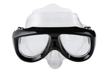 black diving mask, on a white background, swimming goggles, isolate