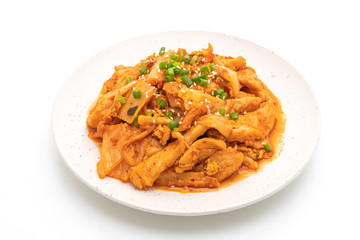 stir-fried pork with kimchi isolated on white background