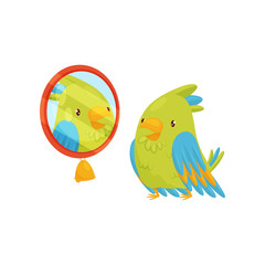 Green parrot looking at yourself in the mirror. Bird with bright feathers. Cartoon character. Flat vector icon