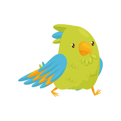 Walking parrot with shiny eyes. Bird character with bright green and blue feathers. Flat vector design