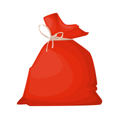 Santa Claus bag full of beautiful gifts christmas holiday decorations surprise vector illustration