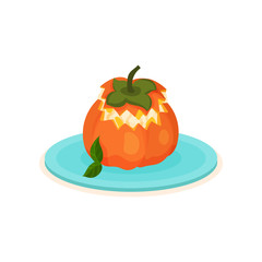Flat vector icon of persimmon stuffed with ice-cream. Delicious fruit dessert on blue plate. Sweet food