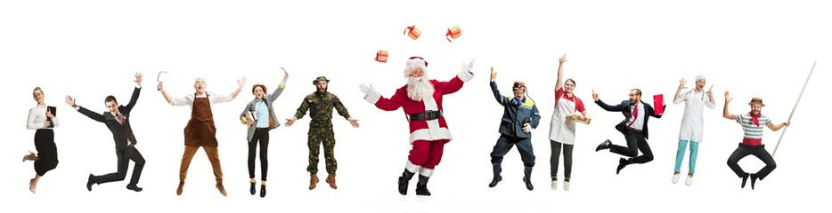 Collage of different professions. Group of men, women in uniform jumping at studio with Santa isolated on white. Full length of people with different occupations. Christmas and holiday concept