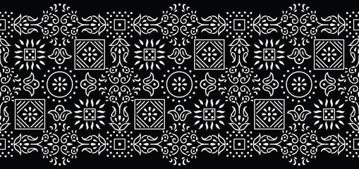 Seamless black and white tribal border