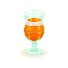Delicious persimmon pudding with whipped cream in glass. Tasty fruit dessert. Sweet food. Flat vector icon