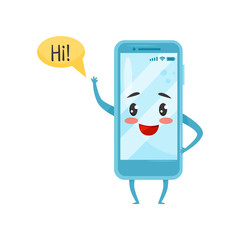 Blue humanized smartphone with funny face waving hand and saying Hi . Cartoon character. Flat vector icon