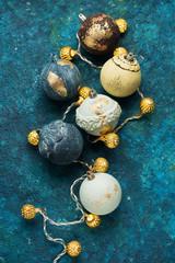 Christmas background with retro Christmas balls and garland