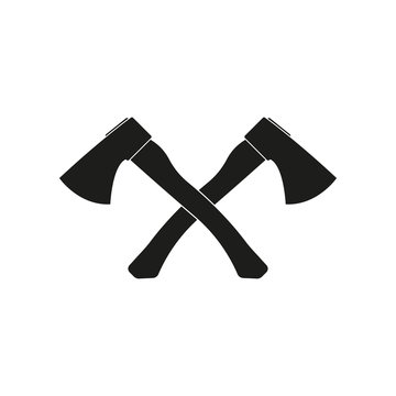 Axe icon. Crossed axes logo. Lumberjack or firefighter tool. Vector illustration.