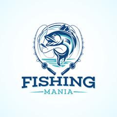 sport fishing logo template