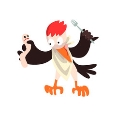 Funny woodpecker with dead and fork, bird cartoon character going to eat vector Illustration on a white background