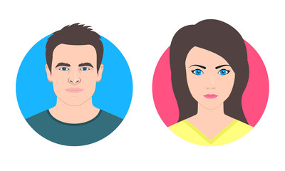 Man and Woman face avatar. Male and Female icon or portrait. Young girl and boy. Vector illustration.