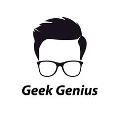 geek genius logo template