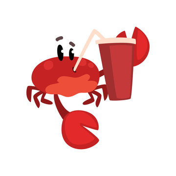 Crab character with paper cup of soda drink with straw, cute sea creature with funny face vector Illustration on a white background