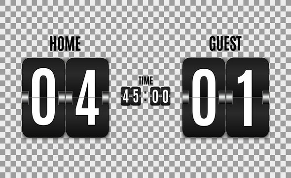 Mechanical scoreboard. Football vector illustration isolated on transparent background. Hour counter Retro vintage countdown design with time. Black countdown timer with white numbers. Vector templat