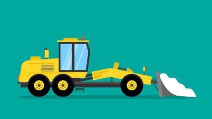 bulldozer grader snow drift remover flat illustration