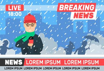 breaking news reporter journalist live broadcasting winter weather snow storm