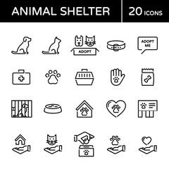 Vector Animal Shelter Icon Logo Set