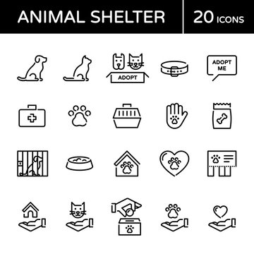 Vector Animal Shelter Icon Logo Set