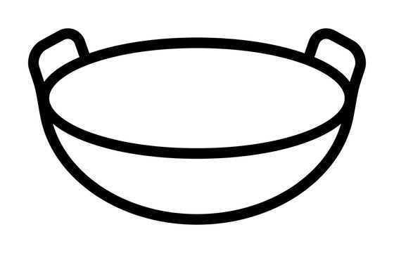 Traditional Chinese wok cooking pan with two handles line art vector icon for food apps and websites