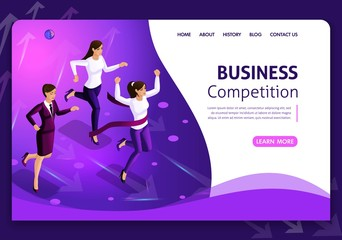 Website template Business design. Isometric concept. Searching for opportunities. Business concept leadership and teamwork. Easy to edit and customize White background