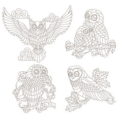 Set of contour illustrations of stained glass elements with owls sitting on tree branches, dark contours on a white background