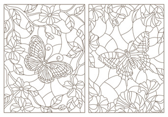 Set of contour illustrations of stained glass Windows with butterflies and flowers, dark contours on a white background