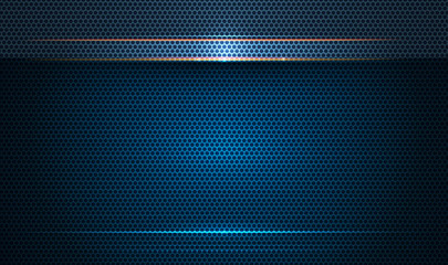 Illustration of abstract blue and black metallic with light ray and glossy line. Metal frame design for background. Vector design modern digital technology concept for wallpaper, banner template