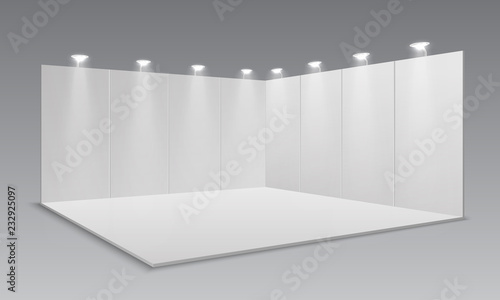 Exhibition Stand Lighting Xl : Blank display exhibition stand. white empty panels promotional