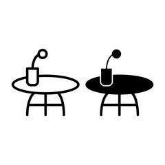 Coffee table line and glyph icon. Small table with flower vector illustration isolated on white. Desk outline style design, designed for web and app. Eps 10.