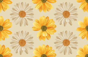 Printable seamless vintage repeat pattern background with yellow chrysanthemum and white daisies. Botanical wallpaper, raster illustration in super High resolution.