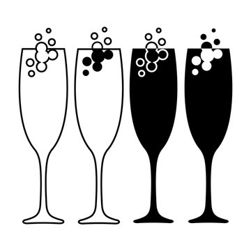 Set of champagne glass icons. Champagne or sparkling wine with bubbles in tall elegant glasses. Vector Illustration