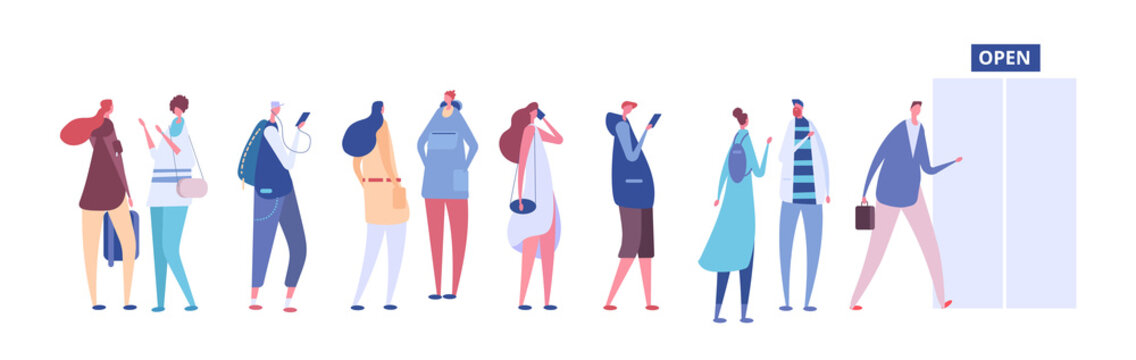 People in queue. Men and women in casual clothes, persons in line outside open store door. Vector concept queue row people, illustration of woman and man line