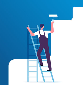 Painter painting wall. Worker on ladder paints home. Repair service and renovation vector concept. Illustration of painter on ladder, worker paint with roller