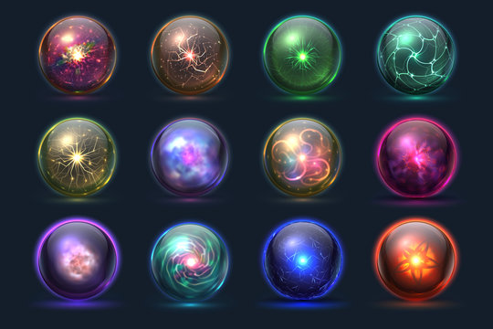 Magical crystal orbs. Glowing magic balls, mysterious paranormal wizard spheres. Vector set of crystal orb and ball sphere illustration