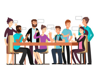 Cartoon character business team have conversation. Woman and man at morning meeting. Illustration of discussion and talk, speech talking brainstorm