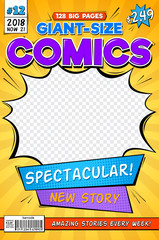 Comic book cover. Vintage comics magazine layout. Cartoon title page vector template. Comic book anf front page magazine illustration