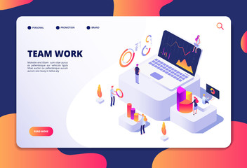 Team work concept. People work with finance charts and graphs. Business data analysis and optimization. Landing web page vector design. Business teamwork page with graphic chart illustration