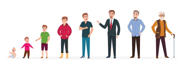 Man in different ages. Newborn boy teenager, adult man elderly person. Growth stages, people generation. Vector cartoon characters. Illustration of people character male growing and generation