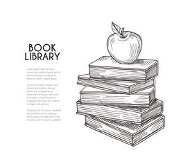 Library background. Hand drawing retro books and apple. School education, reading and knowledge vector concept. Illustration of book sketch for school, apple drawn and knowledge