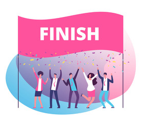 Success reach goal concept. Business persons celebrating victory at finish line. Compete in business motivation vector poster. Triumph business team in competition illustration