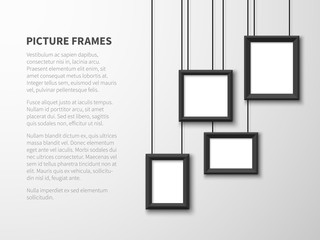 Blank hanging frames. Pictures, photo frames on light wall. Contemporary vector interior. Illustration of interior wall banner with picture frame Papier Peint